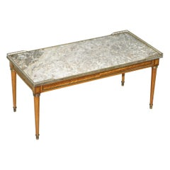 Antique French Marquetry Inlaid Coffee Table Thick Marble Top Brass Gallery Rail