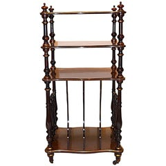 Antique French Marquetry Inlaid Three-Tier Magazine Stand, circa 1880-1890