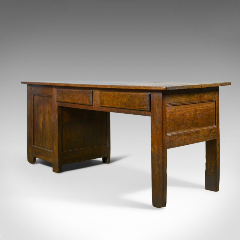 Antique French Mayoral Clerk's Desk, Oak, Elm, Mid-19th Century, circa 1850 In Good Condition For Sale In Hele, Devon, GB