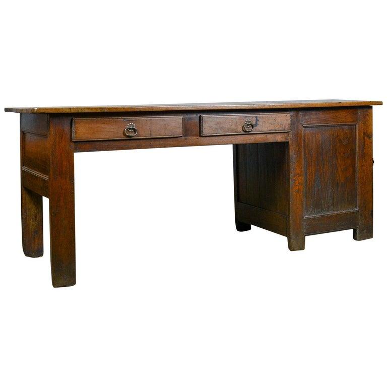 Antique French Mayoral Clerk's Desk, Oak, Elm, Mid-19th Century, circa 1850