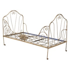 Antique French Metal Daybed in Old Paint