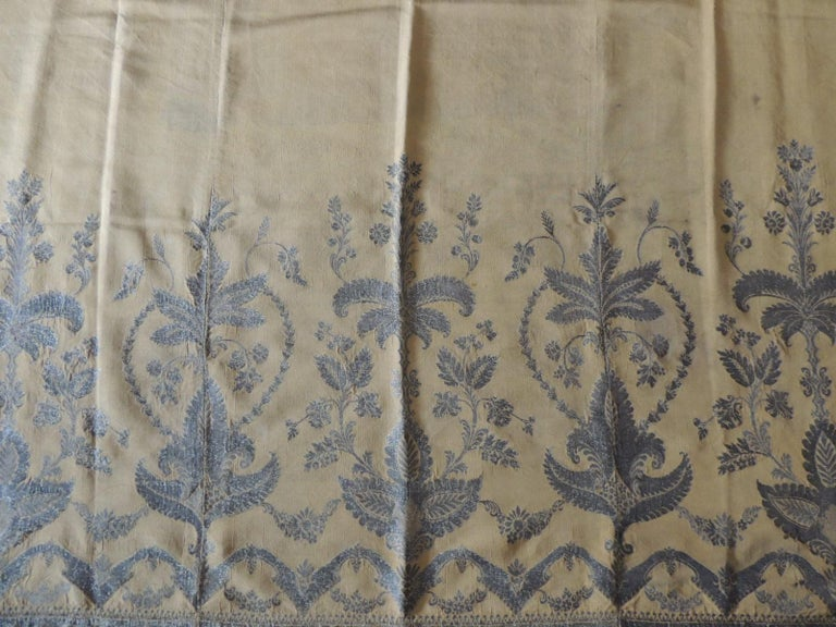 Hand-Crafted Antique French Metallic Threads Embroidered On Gold Silk Panel For Sale