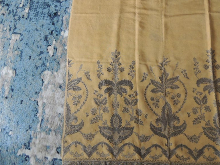 Antique French Metallic Threads Embroidered On Gold Silk Panel In Good Condition For Sale In Oakland Park, FL