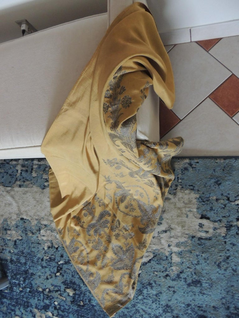 Antique French Metallic Threads Embroidered On Gold Silk Panel For Sale 1