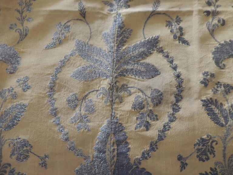 Antique French Metallic Threads Embroidered On Gold Silk Panel For Sale 2