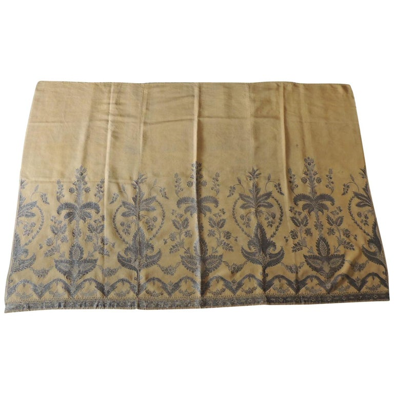 Antique French Metallic Threads Embroidered On Gold Silk Panel For Sale
