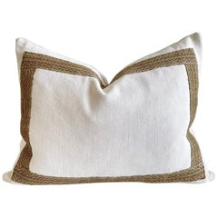 Antique French Metis Linen Pillow with Brown Woven Trim