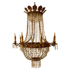 Antique French Mid-19th Century Directoire Bronze and Crystal Chandelier