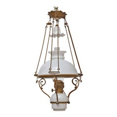 Antique French Milk Glass and Brass Hall Lantern