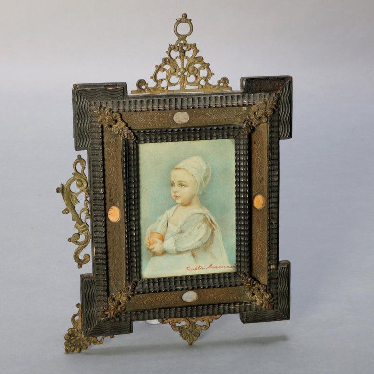 Folk Art Antique French Miniature Signed Watercolor Portrait in Carved Frame 19th Century For Sale