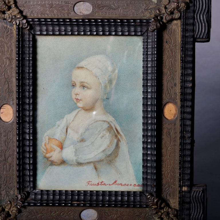Hand-Carved Antique French Miniature Signed Watercolor Portrait in Carved Frame 19th Century For Sale