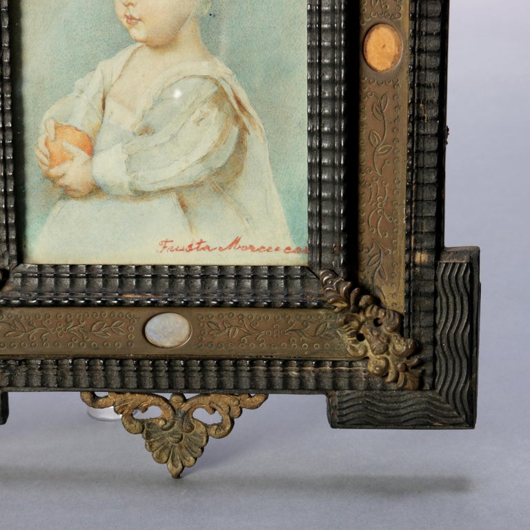 Antique French Miniature Signed Watercolor Portrait in Carved Frame 19th Century In Good Condition For Sale In Big Flats, NY