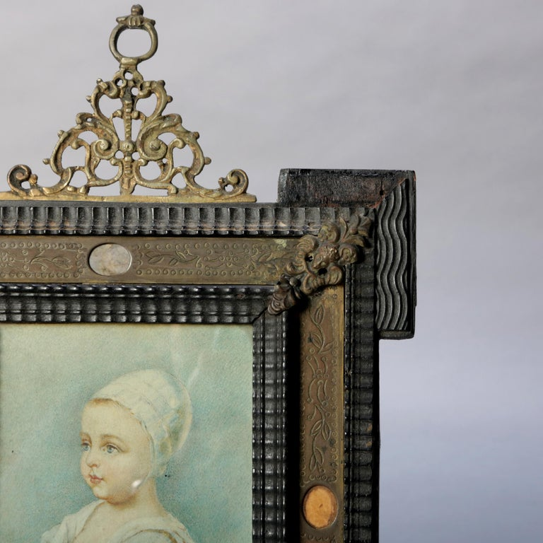 Metal Antique French Miniature Signed Watercolor Portrait in Carved Frame 19th Century For Sale