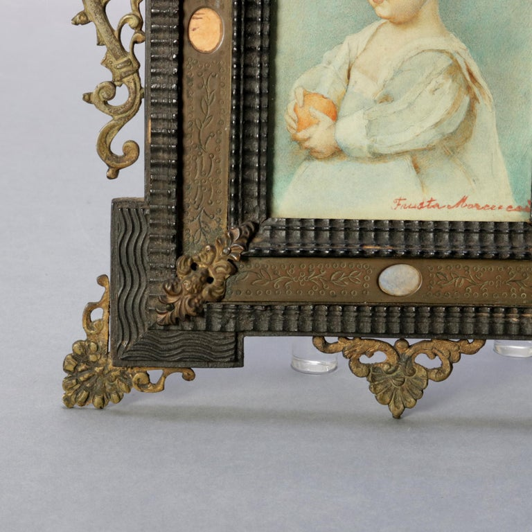 Antique French Miniature Signed Watercolor Portrait in Carved Frame 19th Century For Sale 1
