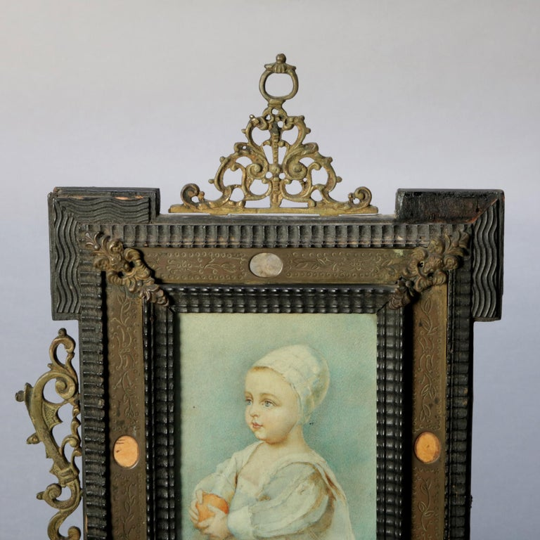 Antique French Miniature Signed Watercolor Portrait in Carved Frame 19th Century For Sale 2