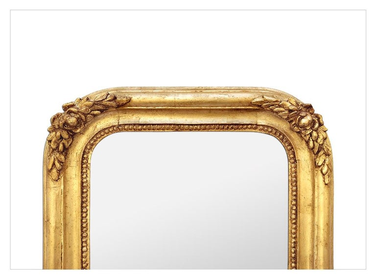 Gilt Antique French Mirror, Romantic Style, circa 1830 For Sale