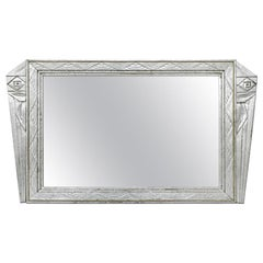 Antique French Mirror Silver Wood Art Deco Style, circa 1930