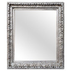 Antique French Mirror Silver Wood, circa 1930