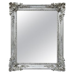 Antique French Mirror Silver Wood Louis XV Style, circa 1890