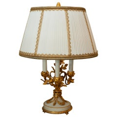 Antique French Napoleon III Bronze and Marble Lamp with Custom Silk Shade