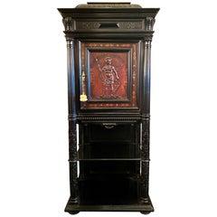 Antique French Napoleon III Ebonized Mahogany Cabinet, Circa 1880