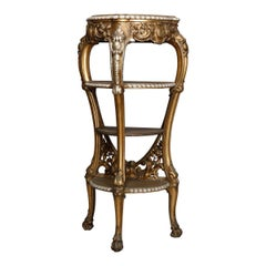 Antique French Napoleon III Figural Giltwood Four-Tier Console Stand, circa 1870