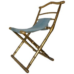 Antique French Napoleon III Folding Chair Wooden and Azure Velvet