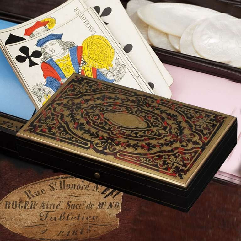 Antique French Napoleon III Game Box in Boulle Marquetry In Good Condition For Sale In Bochum, NRW