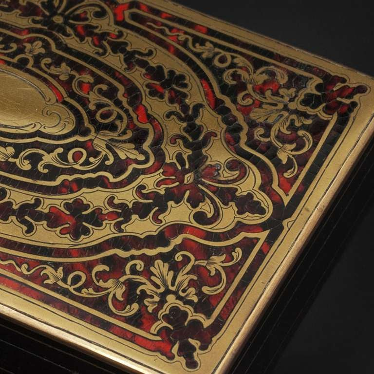 19th Century Antique French Napoleon III Game Box in Boulle Marquetry For Sale