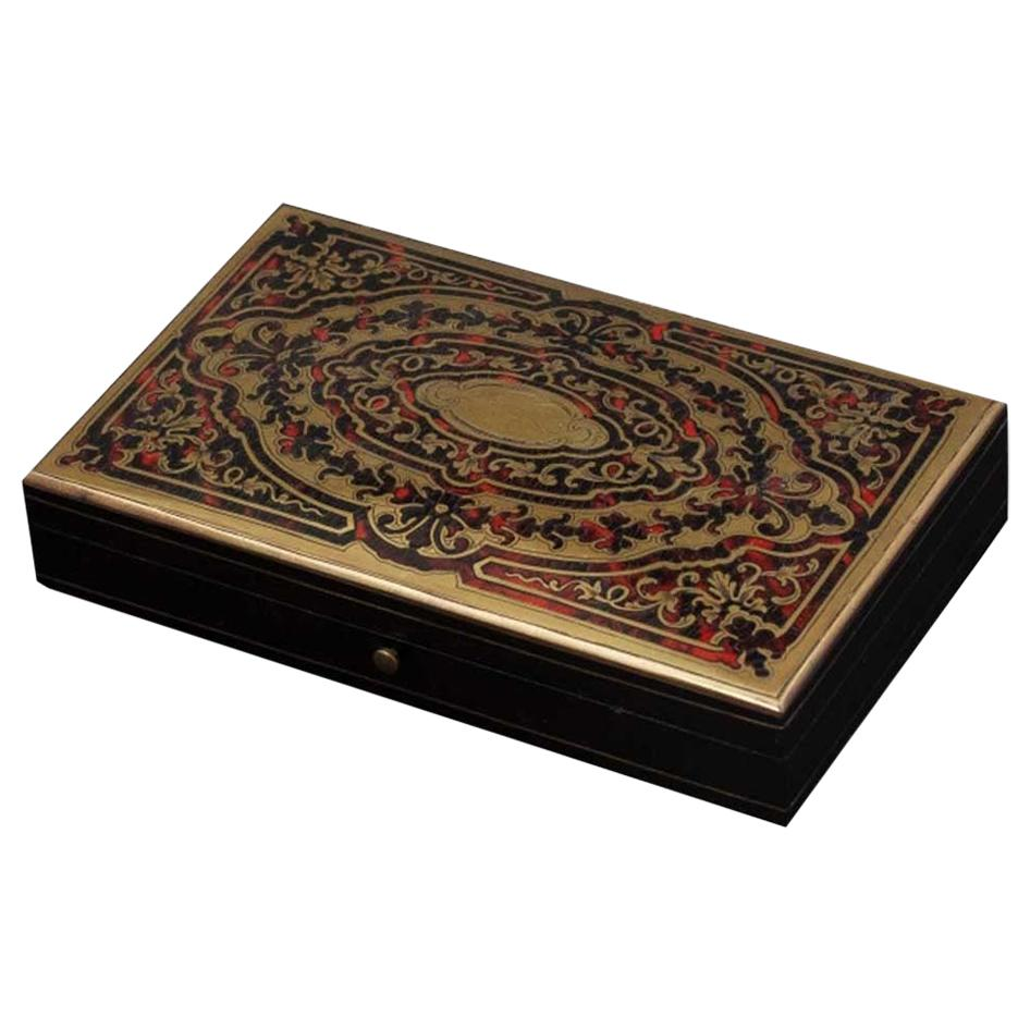 Antique French Napoleon III Game Box in Boulle Marquetry