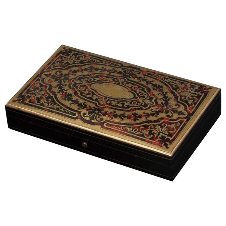 Antique French Napoleon III Game Box in Boulle Marquetry For Sale