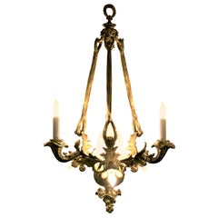 Antique French Napoleon III Gold Bronze and Crystal Chandelier, circa 1870-1880