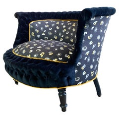 """Antique French Napoleon III Marquise Chair in Tropics """"Leopard' Fabric"""
