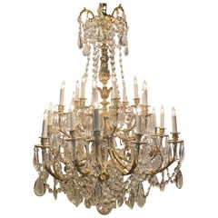 Antique French Napoleon III Ormolu and Crystal 24-Light Chandelier, circa 1880s