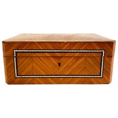 Antique French Napoleon III Satinwood Marquetry Box, circa 1890