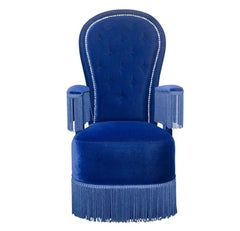 Napoleon III Antique French Styled Velvet Upholstered Armchair with Fringe