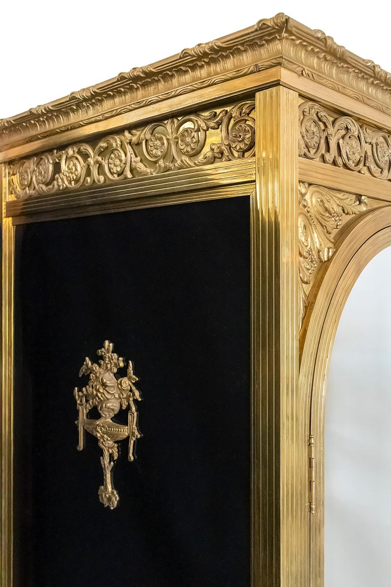 19th Century Antique French Napoleon III Style Bronze And Glass Wardrobe For Sale