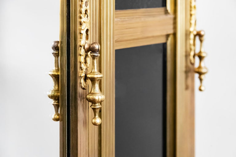 Antique French Napoleon III Style Bronze And Glass Wardrobe For Sale 3