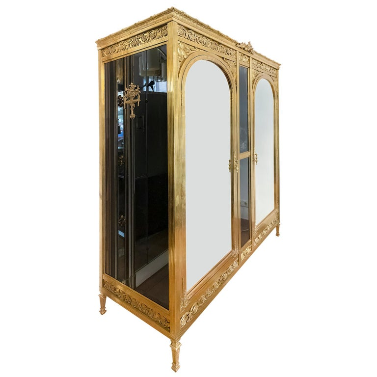 Antique French Napoleon III Style Bronze And Glass Wardrobe For Sale