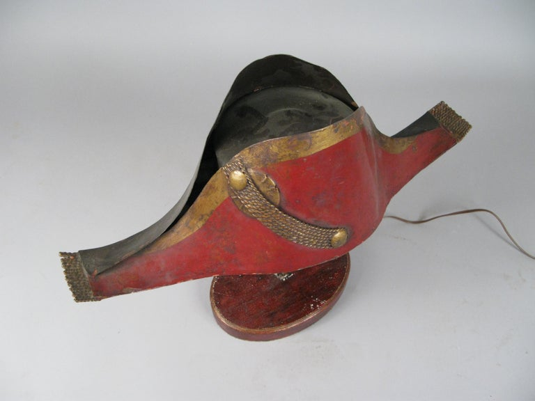 Antique French Napoleonic Chapeau Lamp In Good Condition For Sale In Hudson, NY