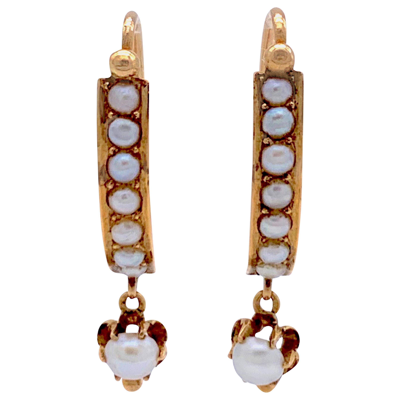 Antique French Natural Oriental Pearl 18 Karat Rose Gold Dangle Drop Earrings