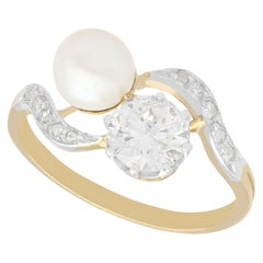 Antique French Natural Pearl and 2.60 Carat Diamond Yellow Gold Twist Ring