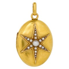 Antique French Natural Pearl Starburst and 18 Karat Yellow Gold Locket