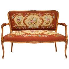 Antique French Needlepoint Salon Two-Seat Sofa