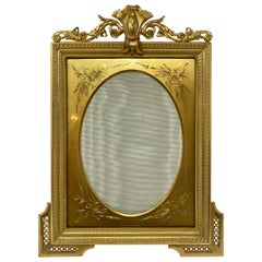 Antique French Neoclassical Bronze D'Ore Picture Frame with Greek Key Design