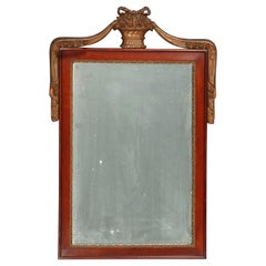 Antique French Neoclassical Parcel Gilt Mahogany Wall Mirror, circa 1920