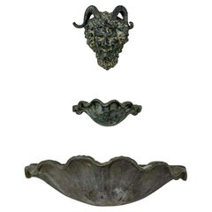 Antique French Neo-Classical Style Shell And Krampus Lead Wall Fountain