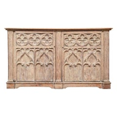 Antique French Neo-Gothic Style Carved Oak Cabinet