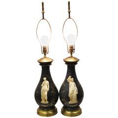 Antique French Neoclassical Black Porcelain Classical Bulbous Table Lamps, Pair