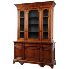 Antique French Neoclassical Glazed Walnut Bookcase Display Cabinet, circa 1875